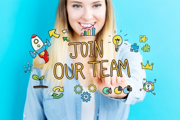 Join Our Team concept with young woman